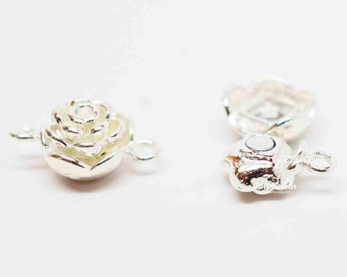 20x13x9mm Bright Silver Flower Magnetic Clasp (Each)