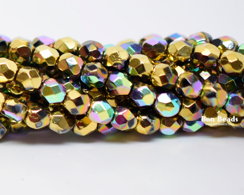 4mm Gold Ore AB Round Fire Polished (600 Pieces)