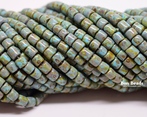 6/0 Aged Blue Turquoise Picasso Bugles (1/4 Kilo)