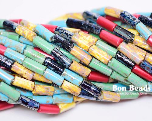 9x4mm Aged Wampum Rouge Multi Picasso Bugle Mix (1/4 Kilo)
