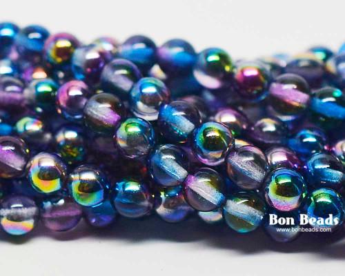 6mm Magic Blueberry Round Smooth Druks (300 Pieces)