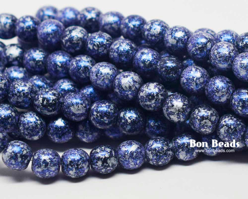 6mm Granite Galaxy Lapis Round Smooth Druks (300 Pieces)