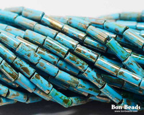 9x4mm Aged Wampum Blue Turquoise Metallic Picasso Bugle (1/4 Kilo)