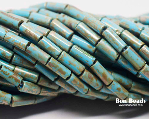 9x4mm Aged Wampum Turquoise Metallic Picasso Bugle (1/4 Kilo)