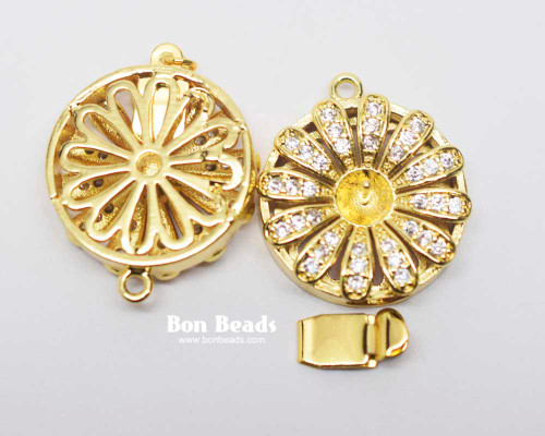 25x20x8mm Round Gold Cubic Zirconia Box Clasp (Each)