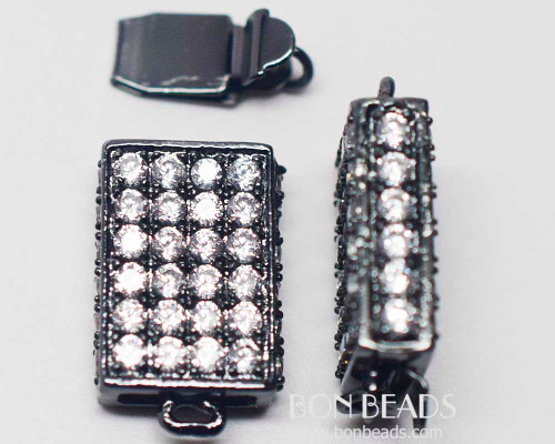 20x11x5mm Black Cubic Zirconia Rectangle Box Clasps (Each)