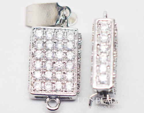 20x11x5mm Silver Cubic Zirconia Rectangle Box Clasps (Each)