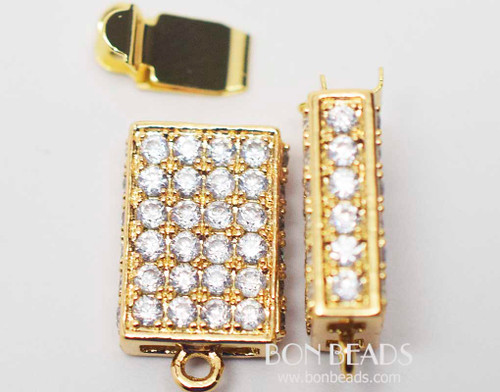 20x11x5mm Gold Cubic Zirconia Rectangle Box Clasps (Each)