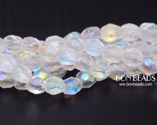 6mm Crystal AB Etched Round Fire Polished (300 Pieces)