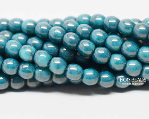 4mm Turquoise Moon Dust Smooth Round Druk (600 Pieces)