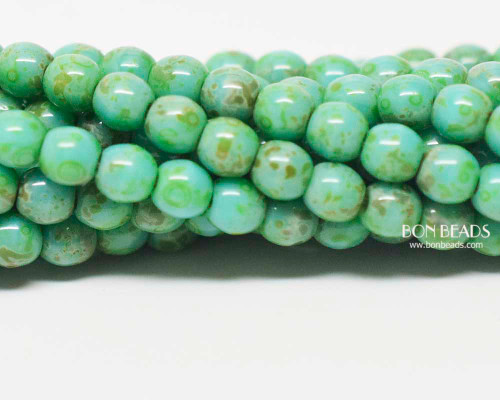 4mm Turquoise Picasso Smooth Round Druk (600 Pieces)
