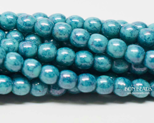 4mm Turquoise Mosaic Smooth Round Druk (600 Pieces)