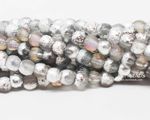 4mm Etched Misty Silver Smooth Round Druk (600 Pieces)