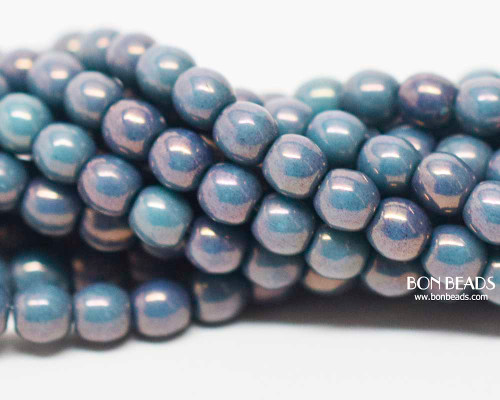 4mm Turquoise Purple Smooth Round Druk (600 Pieces)