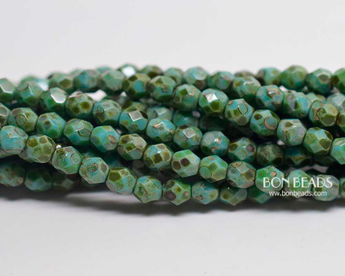 4mm Dark Turquoise Picasso Fire Polished (600 Pieces)