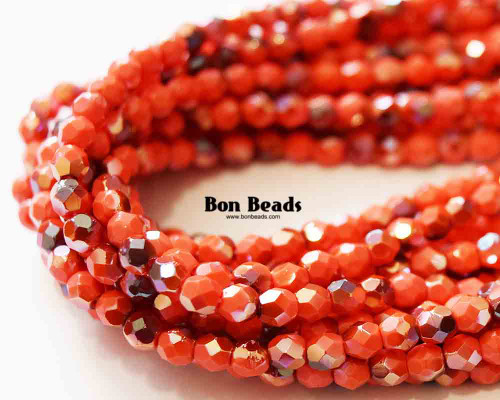 4mm Round Fire Polished - Coral Celsian