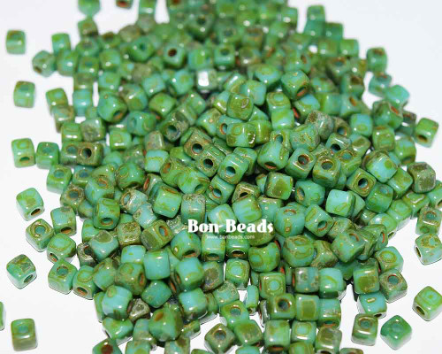 6/0 Green Turquoise Picasso Cubix® (50 Grams)