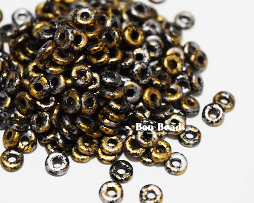 4x1mm Granite Galaxy Gold O Beads (100 Grams)