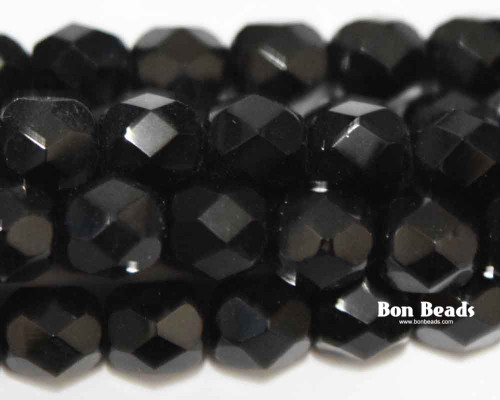6mm Black Round Fire Polished (300 Pieces)