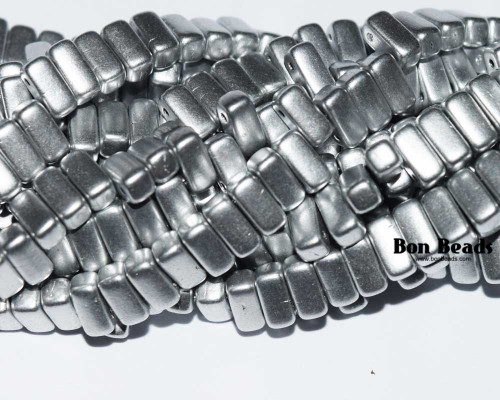 3x6mm Silky Silver 2 Hole Bricks (600 Pieces)