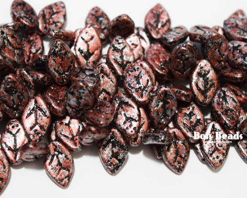 12x7mm Granite Galaxy Red Leaves (300 Pieces)