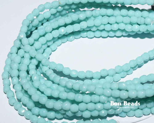 3mm Light Green Turquoise Round Fire Polished (600 Pieces)