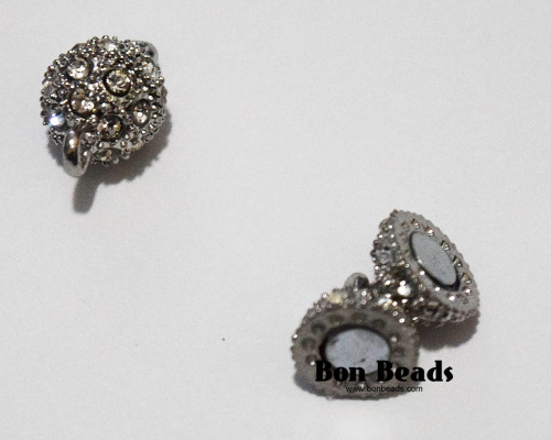 16x10mm Dark Silver Rhinestone Magnetic Clasp (Each)