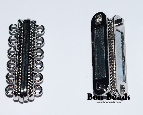 33x14x7mm 12 Holes Silver Magnetic Bar Clasp (Each)