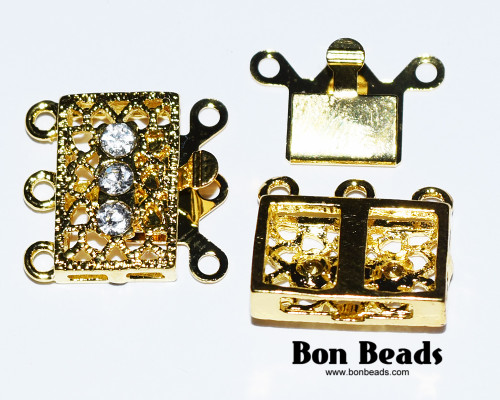 18x17x7mm Six Hole Gold Box Clasps with Rhinestones (Each)