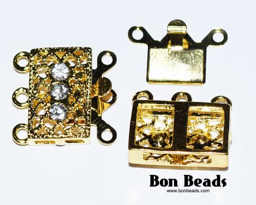 18x17x7mm Six Hole Gold Box Clasps with Rhinestones (Each)