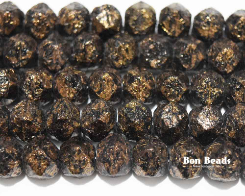 10mm Dark Bronze Gold Etched English Cuts (150 Pieces)