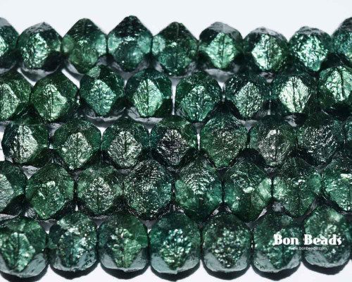 10mm Opaque Green Etched English Cuts (150 Pieces)
