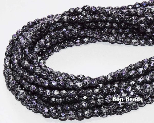 4mm Granite Galaxy Purple Etched Round Fire Polished (600 Pieces)