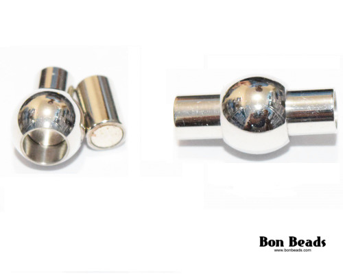 17x8.5mm Silver Column Magnetic Clasp (Each)