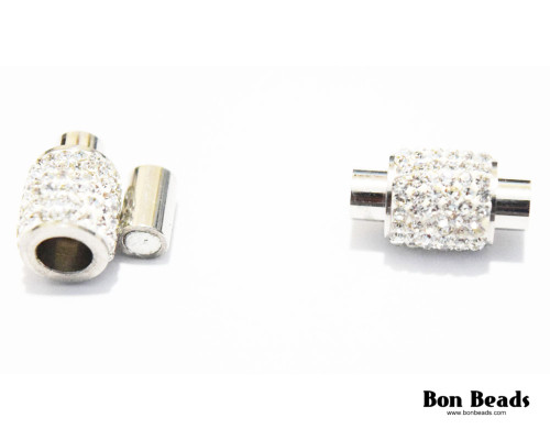 16x9mm Silver Rhinestone Magnetic Oval Clasp (Each)
