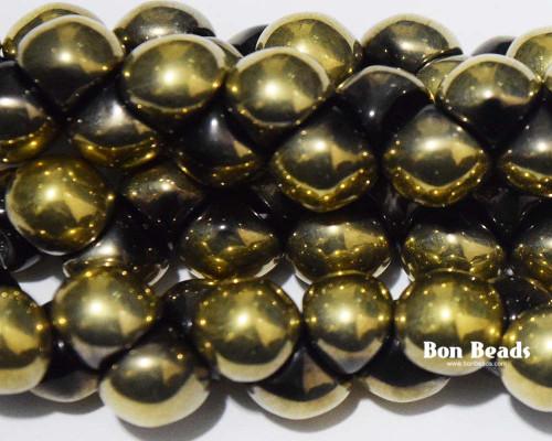 9x8mm Black Half Gold Aurum Wide Cap Mushroom Buttons (150 Pieces)
