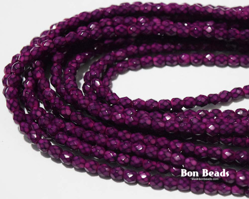 4mm Deep Magenta Round Snake Fire Polished (600 Pieces)