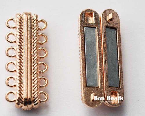 33x14x7mm 12 Holes Rose Gold Magnetic Bar Clasp (Each)