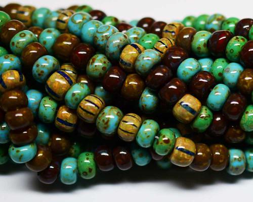 1/0 Jade Turquoise Multi Striped Aged Picasso Mix (1/4 Kilo)