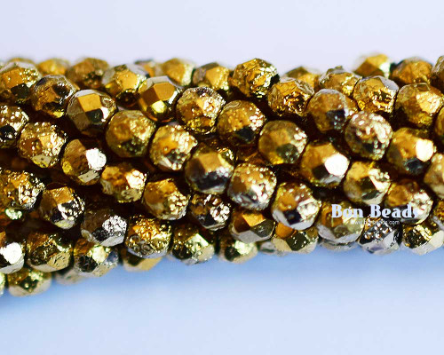 4mm Gold Ore Etched Round Fire Polished (600 Pieces)