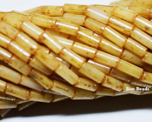 9x4mm Aged Wampum Honey Picasso Bugle (1/4 Kilo)