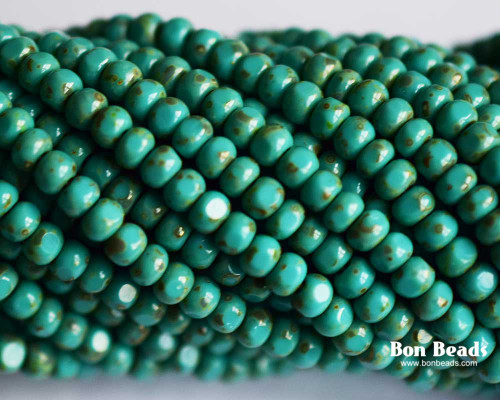 6/0 3 Cut Green Turquoise Picasso (1/4 Kilo)