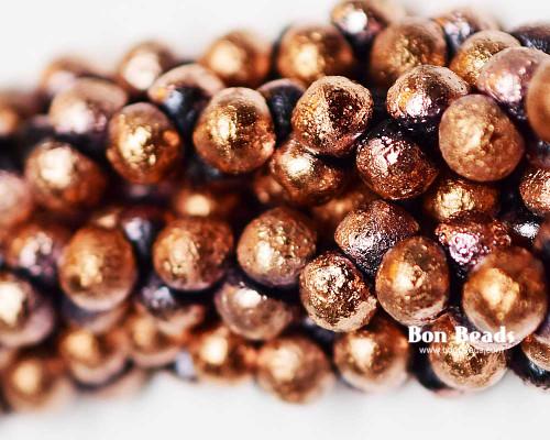 7mm Black Copper Etched Wide Cap Mushroom Buttons (150 Pieces)