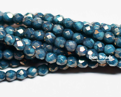 3mm Turquoise Moon Dust Round Fire Polished (600 Pieces)