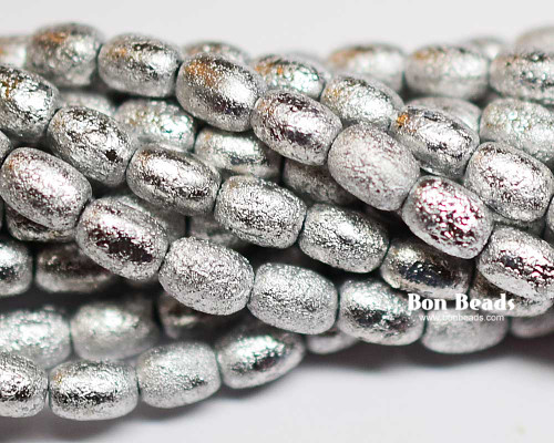 4x6mm Silver Ore Etched Rice (600 Pieces)