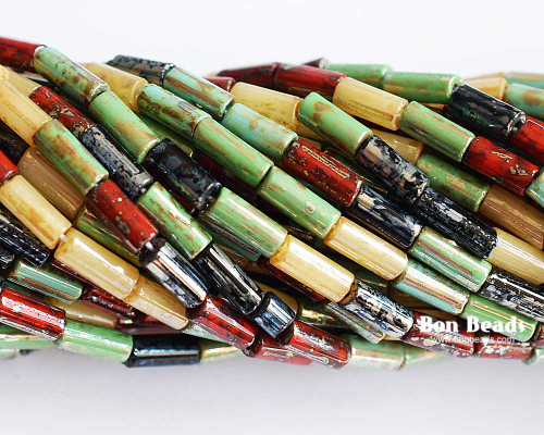 9x4mm Aged Wampum Multi Metallic Picasso Bugle Mix (1/4 Kilo)