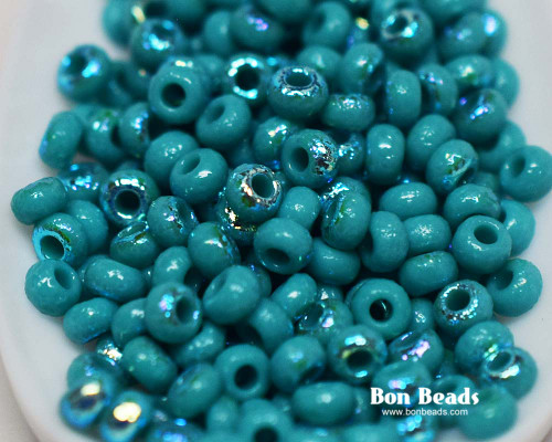 8/0 Green Turquoise AB Etched Round (50 Grams)