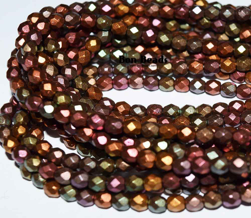 4mm Dark Metallic Iris Mix Round Fire Polished (600 Pieces)