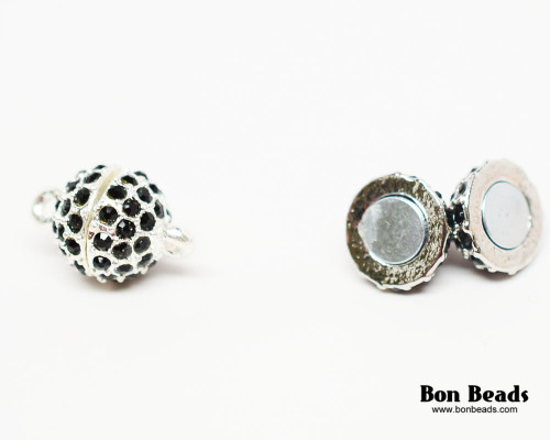 16x10mm Black Rhinestone Magnetic Oval Clasp (Each)