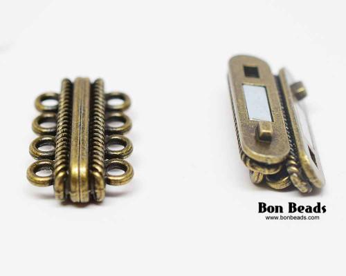 30x17x7mm 8 Holes Antique Bronze Magnetic Bar Clasp (Each)